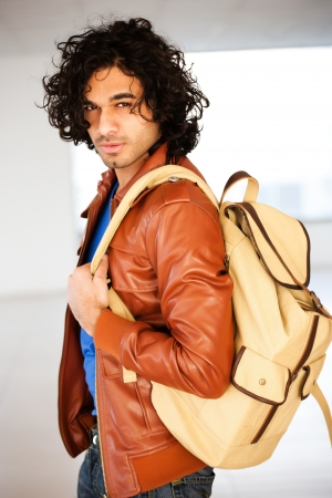 male university student with rucksack photo