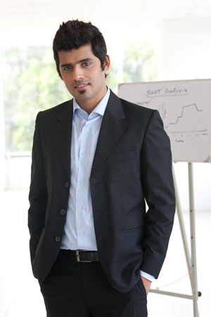 portrait of a confident Indian businessman standing in the boardroom with white board in the background