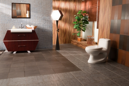 wood flooring: modern bathroom in a luxury apartment Stock Photo