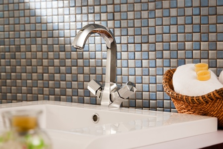 bathroom sink: close up of a wash basin in a modern bathroom Stock Photo