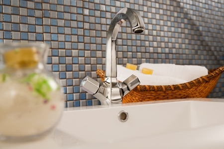 close up of a wash basin in a modern bathroom photo
