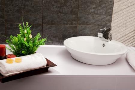 basin: close up of a wash basin in a modern bathroom Stock Photo