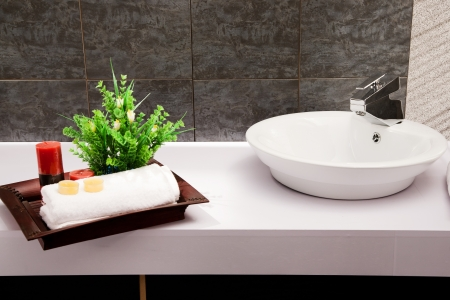 close up of a wash basin in a modern bathroom Stock Photo