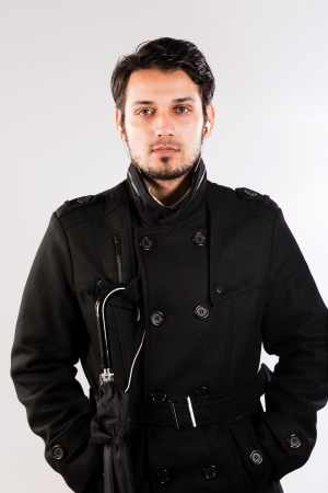 indian male: handsome man wearing over coat