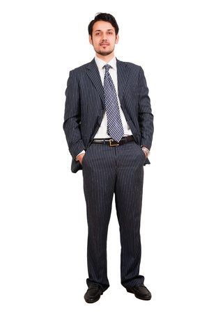 portrait of a happy Arab businessman, biracial businessman isolated on white photo