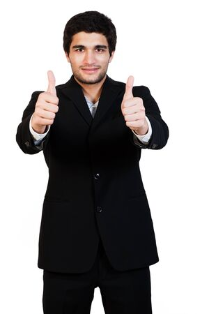 young and happy businessman with thumbs up, isolated on white