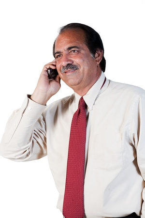 happy mature businessman talking on the mobilel phone