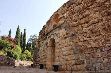 merida: Entrance to the Roman amphitheatre in Merida (Spain) Stock Photo
