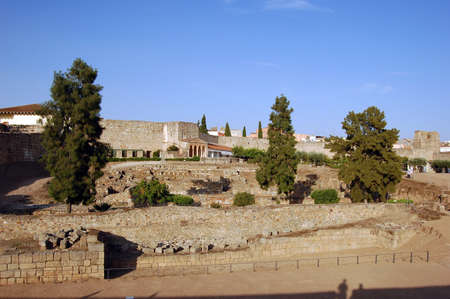 alcazaba: The Alcazaba of Merida is a citadel built by Abderraman II in the 835 a.C. to control the city, it was the first Alcazaba made in the Iberian Peninsule.