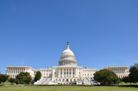 Located in Washington, D C , the United States Capitol is the meeting place of the U S  Congress, the legislature of the U S  federal government   Stock Photo