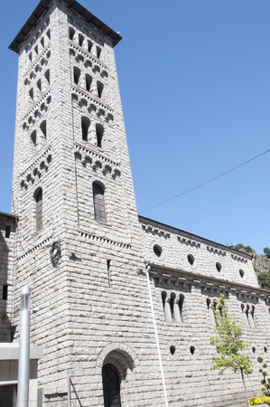 tourism in andorra: Church of Sant Pere Martir in Escaldes-Engordany, Andorra  A Neo-Romanesque style church built in 1956  Stock Photo