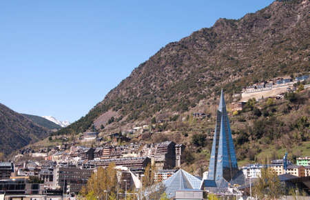 tourism in andorra: Futuristic building in the city of Andorra in the Pyrenees  Stock Photo