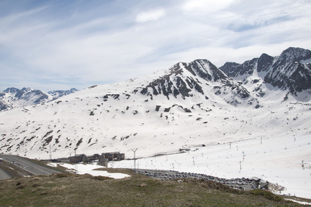 tourism in andorra: Snowed mountains in the Pyrenees, Andorra Stock Photo