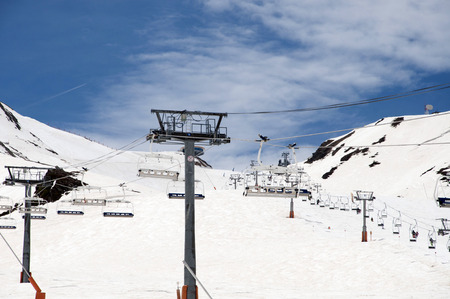 chair lift: Chair lift in snowed Mountains in the Pyrenees, and ski slopes in Pas de la Casa, Andorra