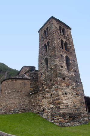 tourism in andorra: Bel Tower of the church of Sant Joan de Caselles in Canillo, Andorra