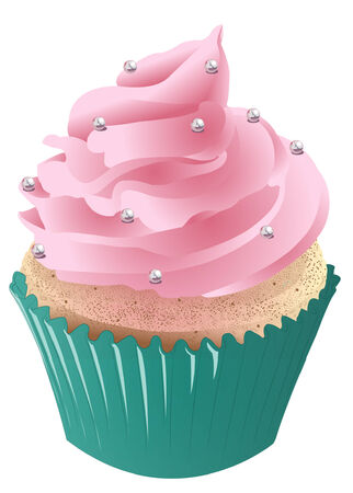vanilla cupcake: Vanilla cupcake with pink frosting and a blue liner. Illustration
