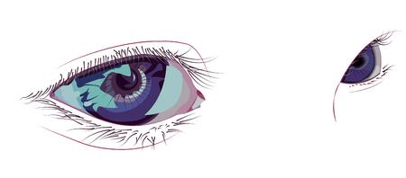 グラマー側は紫の目を一目
