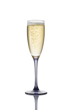 mowers: Glass of champagne on a white background.