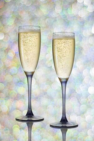 mowers: Two glasses of champagne on festive background. Stock Photo