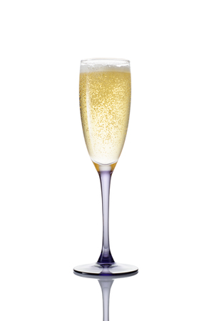 christmas drink: Glass of champagne on a white background.