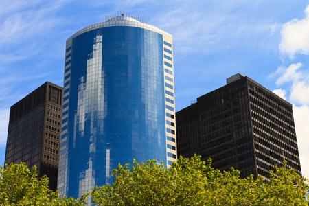 moderne gebouwen met groene basis
