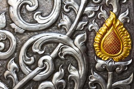 metal embossed silver door Stock Photo