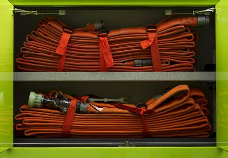 rescue truck hoses Stock Photo
