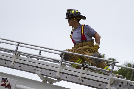 fireman at scene on ladder