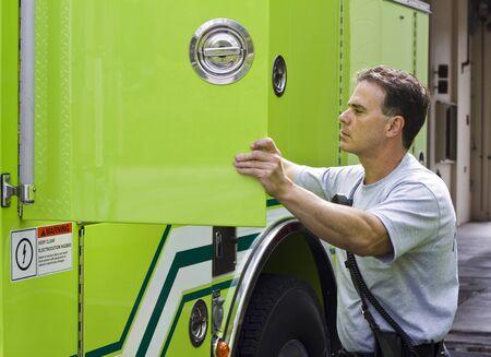 emt: fireman at work Stock Photo