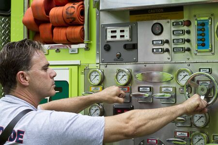 fireman at work Stock Photo