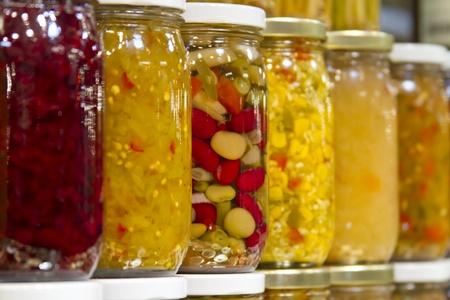 jars of condiments Banco de Imagens