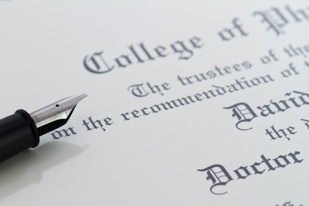 pen and diploma