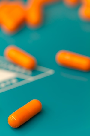 pills on a counting tray Stock Photo
