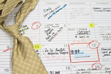 schedules: apretada agenda y corbata Foto de archivo