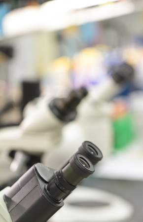 microscopes in lab Stock Photo