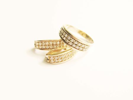 rings and earrings Stock Photo