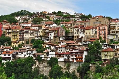 veliko: typical terrace architecture in Veliko Turnovo, Bulgaria