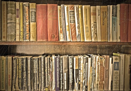 antique books and old bookshelf  photo
