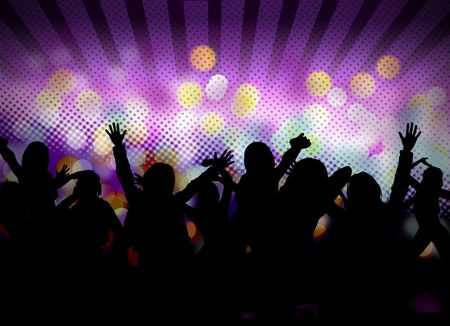 fiesta dj: imagen del parte de club con siluetas de personas bailando
