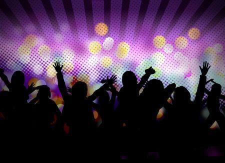 club: immagine di partito club con sagome di persone danza