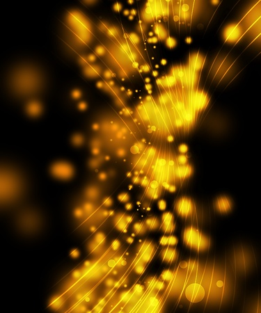 flares: magic sparkles, yellow light dots on black background and golden fibers