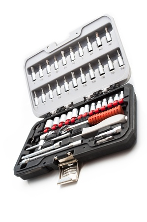 toolkit of various tools in the box photo