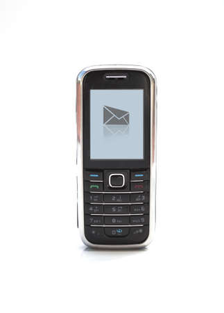 new message: cell phone with new message symbol on screen Stock Photo