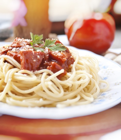 spaghetti with tomato sauce and ingredients Stock Photo - 9965941
