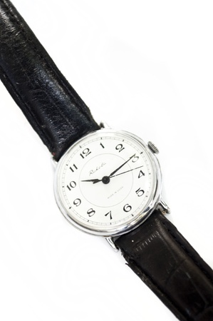 old man`s silver watch