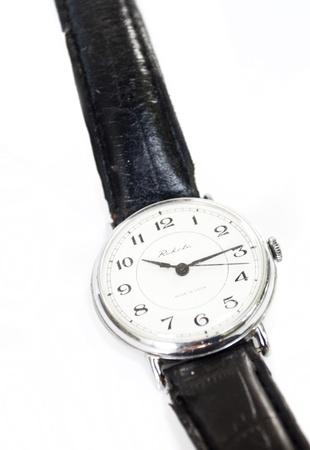 mans watch: el viejo reloj de plata `s Foto de archivo