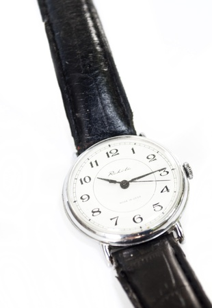 old man`s silver watch photo