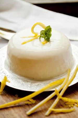 italian panna cotta dessert with lemon fragrance