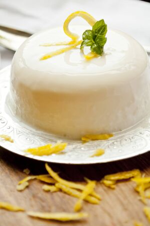 pannacotta: italian panna cotta dessert with lemon fragrance