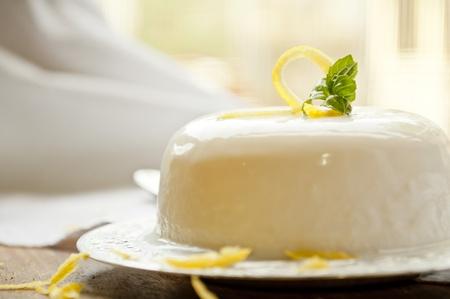 cotta: italian panna cotta dessert with lemon fragrance
